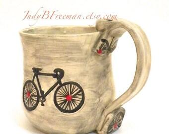 Ceramic Bicycle Mug Handmade Red Dots Made to Order MG0042