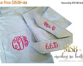 ON SALE Monogrammed Oversized Boyfriend Men's Shirts for Bridal Parties and College Co-ed's in Blue and White Stripe