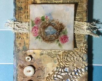 Mixed Media Nest Encaustic