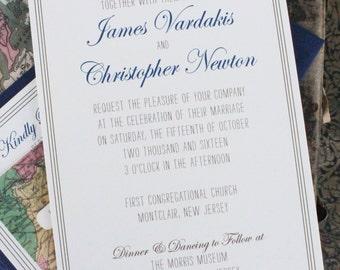 Vintage Map Wedding Invitation (New Jersey) - Design Fee