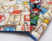 3 Cloth Napkins- Ecofriendly for Kids, Lunchboxes, Back to School, Picnics, Play Kitchen - Pirate Cloth Napkins - (Ready to Ship)