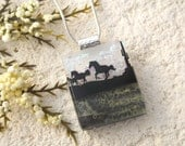 Horse Necklace, Dichroic Fused Glass, Petite Jewelry, Horse Pendant, Horse Jewelry, Fused Glass Jewelry, Necklace Included, 073116p102
