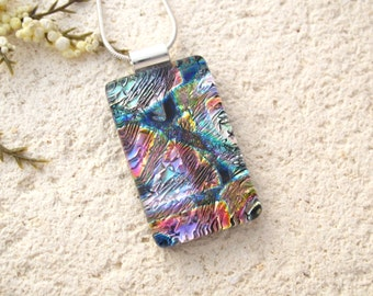 Purple Pink Lavender Necklace, Fused Glass Jewelry, Dichroic Necklace, Metallic Multi Color Pendant, Dichroic Jewelry, Rainbow, 022516p102