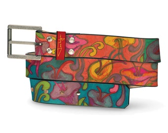 Post-Matisse Flowers Leather Belt