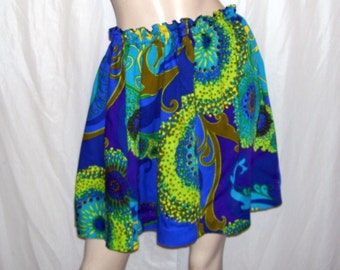 Hawaiian Mini Skirt Beach Tropical Vintage Hawaii Fabric Luau Tiki Green Yellow Blue Purple Hippie Cruise Resort Pool Party OOAK Adult S-L