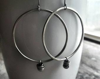 Large Silver Hoop Earrings - Boho Hoops - Beaded Hoop Earrings - Brushed Silver Earrings - Everyday Jewelry - Hoop - Gifts For Her