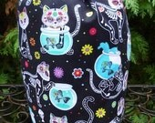 Day of the Dead Cats Drawstring bag, WIP bag, knitting project bag, Suebee