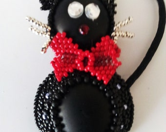 Black Cat with red Bow Pendant/ Brooch . Cat Lover . Bright Eye Cat . Beadwoven Beaded Cat . My Friend Kati the Cat. Lucky New Year's Cat