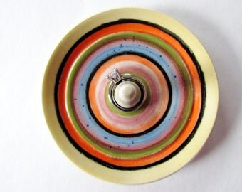 Sombrero Ring Dish, Rainbow Stripes Ring Dish,  Ring Bowl, Wheel Thrown Pottery