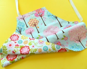 Toddler Apron • Kids Apron • Children's Apron • Girl's Apron • Reversible Apron for Kids • Flowering Trees and Garden • Pink • Nature