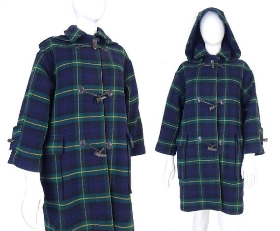 Vtg 80s The Scotch House Plaid Duffle Coat Petite L XL