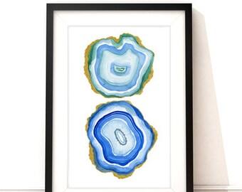 "Agate Slices Watercolor PRINT blue agates 5""x7"", 8""x10"", 11""X 14"" wall art, home decor"