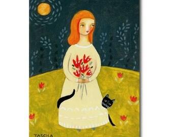 MOON goddess Black Cat folk art painting by Tascha ORIGINAL acrylic painting