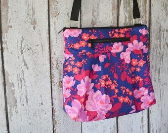 Tablet Pocket Crossbody Purse - iPad Pocket Cross Body Bag - Crossbody Purse - Shoulder Purse -  MEDIUM or Large HOBO BAG Orchid Fabric