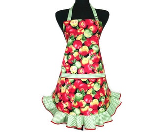 Red Apple Apron , Retro Kitchen Decor with Green and White Check Ruffle