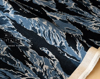 Japanese Fabric 100% linen tiger camouflage - blue -  50cm