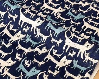 Japanese Fabric - Yuwa double gauze cats - blue, white - 50cm