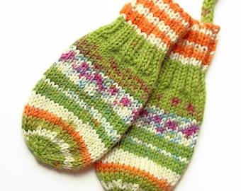 Mittens on a String. Thumbless Baby Mitts With Cord. Unisex 6 to 9 Months Handknit Infant Gloves. Winter Hand Warmers