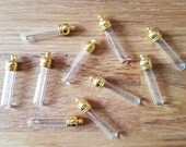 10 Small 5mm Glass Tube Vial Bottle Pendants in Silver or Gold