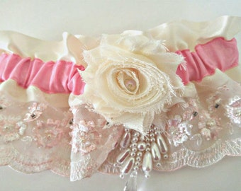 Ivory Satin-Rose and Pink Hand Beaded Lace Bridal-Wedding Garter-Shabby Chic-Vintage Lace-Pearls-OOAK