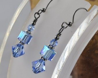 LIGHT SAPPHIRE BLUE Simply Stacked Swarovski crystal bicone cube and round gunmetal leverback earrings