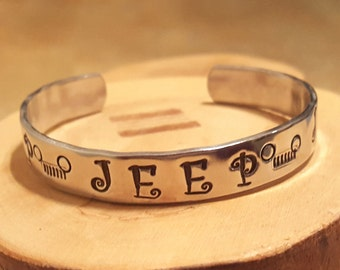 Jeep grille OIIIIIIIO hand stamped and polished aluminum cuff bracelet Curlz font