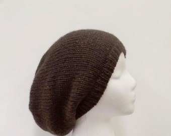 Oversized beanie hat in shades of brown, handmade slouchy hat 5042
