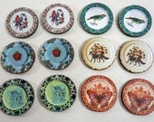 Mini Fancy Plates - Collection of 12 Decorative Plates for Craft and Jewelry Projects