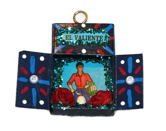 Loteria El Valiente, Mexican Ornament, Mexican Gift Tag, Matchbox Nicho, Mexican Nicho, Loteria Decoration, Mexican Folk Art. Mexican Kitsch