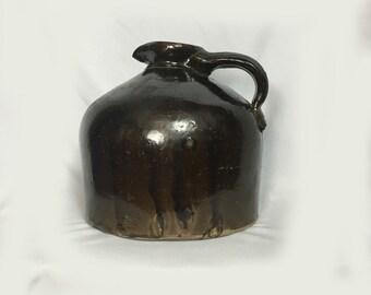 Antique Jug, Vase, Pitcher, Brown Glaze, Primitive, 1800's