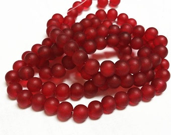1 of 31 inch strand 8mm glass red frosted glass beads-over 100 beads-7887i