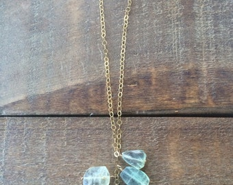 Green Flourite Cluster on Gold Chain Necklace