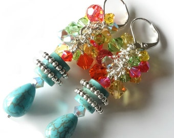 Turquoise Cluster Earrings, Turquoise Howlite, Swarovski Crystals, Lime Green, Orange, Yellow, Coral, Silver, Beaded Earrings, Tropical