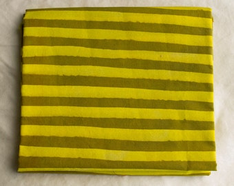 Two Stripes Hand Dyed and Patterned Cotton Fabric/ Yellow and Amber