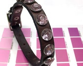 Leather Dog Collar in Chocolate Brown with Pink Sparkles, Size XS/S, Small Dog, 7-10in Neck, EcoFriendly, Pet Accessories, OOAK