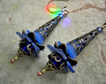 Blue Elven Wand Earrings, Sapphire & Cobalt, Elksong Jewelry, Elegant Faery Couture, Antiqued Brass Filigree, Fairy Flower Earring