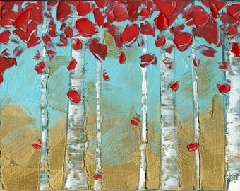 Abstract Art Blue Gold Red Birch Trees Landscape Aspen Giclee Canvas PRINT Home Decor Wall Art Large Modern Contemporary Art by Susanna