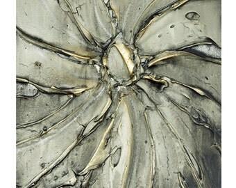 PRINT on Canvas Grey Modern Abstract Art Gold Large Gestural Swirl Home Decor Wall Art Gallery Wrap Canvas Contemporary Art ~Susanna