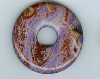 Gemstone Focal Pendant, 45mm Brown and Purple Jasper PI Donut Pendant Focal Bead 817