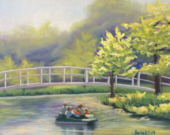 "Pastel drawing ""Paddle Boating in Forest Park"" plein air original painting"