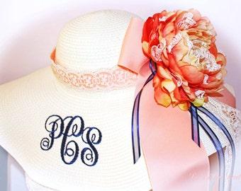 Monogrammed Bride Floppy Hat, Custom Designed, Artwork Flower Handmade, Bridal Shower, Bridesmaids, Bachelorette,  Honeymoon OOAK