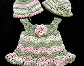 0-3M Baby Girl Shell Dress with Flower and Two Beanie Hats, Green and Pink Variegated, Handmade Crochet, 100% Cotton