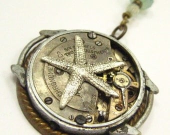 Star Time  ... Steampunk Antique Watch Movement Starfish One of a Kind Pendant