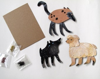 DIY Instant Dog Collection Kit  / Make your own Three Dogs  / Hinged Beasts Series