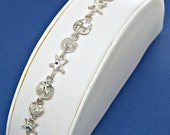 Bracelet Sea Shells Sterling Silver Sea Life Diamond Cut Link Charms 7 inches Style no. 3305