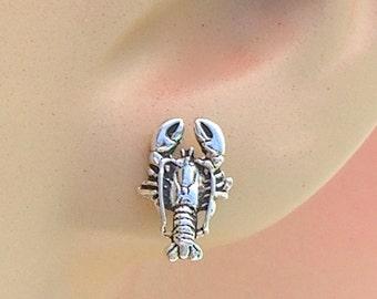 Earrings Lobster Sterling Silver Sea Life Beach Ear Studs no. 3485