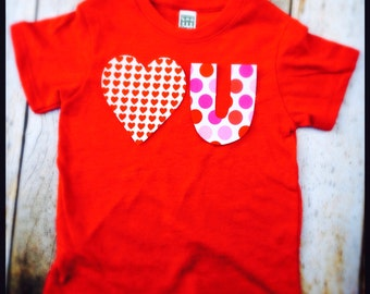 Valentine's Day Heart U white red hearts pink fuchsia love you T Shirt Applique- Kids Boys Girls Big Bro Lil Sis children baby 1st outfit