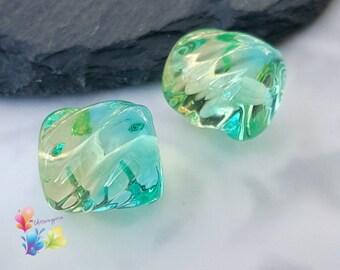 Lampwork Beads Aqua And Lemon Two Tone Twists Pair