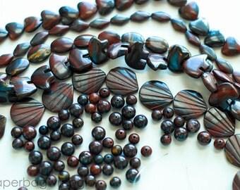 Free Ship Destash - 5 Strand Lot Plus Loose Beads- Tiger Iron Natural Gemstones
