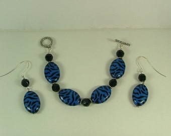 Royal Blue Zebra Bracelet and Earrings S-9